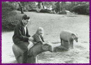 Eva at 3 years old with her Dad, Fred Bild, in Japan.